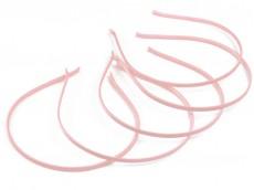 Vincha metálica forrada en raso rosa bebé 0.5 cm x unidad
