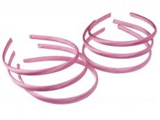 Vincha plástica forrada en raso rosa 1cm x unidad