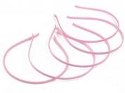 Vincha metálica forrada en raso rosa 0.5 cm x unidad