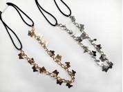 Vincha elastica cadenas mariposas metal
