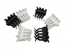 Broche 4 dientes ondulado blanco y negro x12
