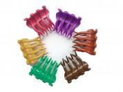 Broche 4 dientes ondulado colores surtidos x6