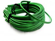 Vincha metálica forrada en raso verde cesped 0.5 cm