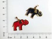 Dije elefante esmaltado enchapado en oro