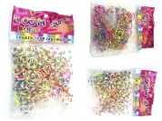 Set gomitas bicolor x200u, ganchitos x12u, aguja x1u.
