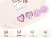 Set aros perla-corazón-flor x3pares