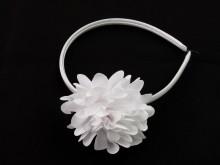 Vincha forrada 1 cm con flor blanca opaca