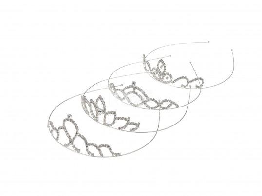 Vincha alambre con corona plateada y strass cristal