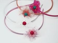 Vincha flor de plumetie y flor de paño color