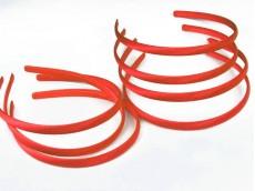 Vincha plástica forrada en raso rojo 1 cm