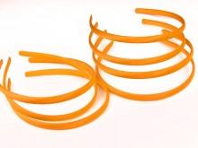 Vincha plástica forrada en raso naranja 1 cm
