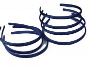 Vincha plástica forrada en raso azul marino 1 cm